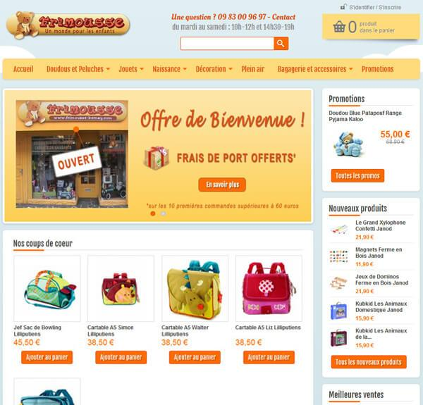 site ecommerce jouets commerce frimousse bernay
