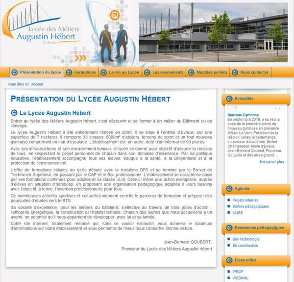 site institutionnel lycee enseignement lycee hebert evreux